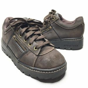 Skechers Leather Sneakers Zipper Pocket Comfortabl